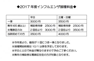 2017インフルエンザ接種料金表